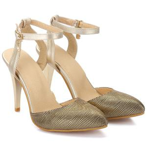 Trendy Ankle Strap and Pointed Toe Design Sandals For Women - GOLDEN 38