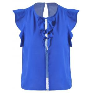 Sweet Slimming Scoop Neck Flounce Blouse For Women