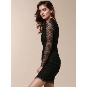 Plunging Neck Long Sleeve Lace Bandage Bodycon Dress - BLACK ONE SIZE(FIT SIZE XS TO M)