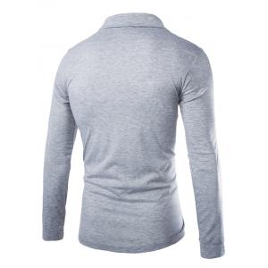 Trendy Slimming Turndown Collar Solid Color Button Design Long Sleeve Polyester T-Shirt For Men - LIGHT GRAY 2XL
