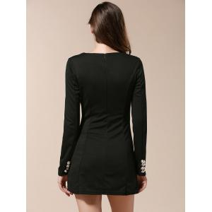 Fashionable V-Neck Solid Color Double-Breasted Long Sleeve Women's Dress - BLACK XL