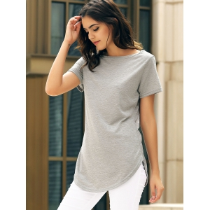 Short Sleeve Solid Color Slit Casual Dress - GRAY S