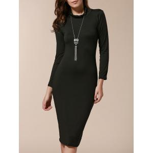 Simple Turtle Neck Long Sleeve Solid Color Slimming Women's Dress