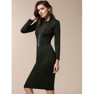 Simple Turtle Neck Long Sleeve Solid Color Slimming Women's Dress - BLACK M