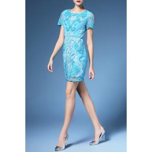 Floral Embroidered Shift Dress For Women -