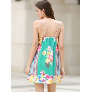 Sexy Plunging Neck Sleeveless Floral Print Loose-Fitting Women's Dress - WATER BLUE L