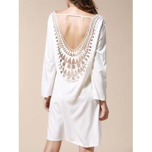 Backless Long Sleeve Shift Dress