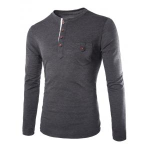 Fashion Slimming Round Neck Contrast Color Placket Long Sleeve Polyester T-Shirt For Men - Deep Gray - L
