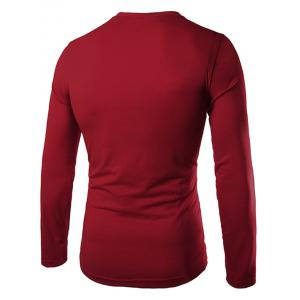 Fashion Slimming Round Neck Contrast Color Placket Long Sleeve Polyester T-Shirt For Men - WINE RED XL