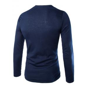 Fashion Slimming Round Neck Contrast Color Placket Long Sleeve Polyester T-Shirt For Men - CADETBLUE 2XL