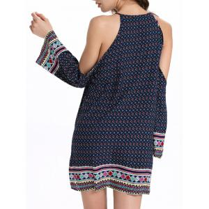 Open Shoulder Keyhole Boho Dress - PURPLISH BLUE 2XL