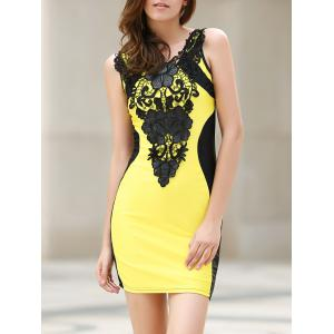 Sexy Scoop Neck Lace Embellished Sleeveless Color Block Dress For Women - Yellow - S