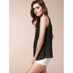 Lace Up Chiffon Tank Top - BLACK 2XL