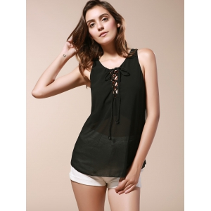 Lace Up Chiffon Tank Top - BLACK 3XL