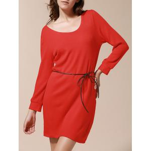 Solid Color Simple Style Skinny Puff Sleeves Round Neck Women's Dress