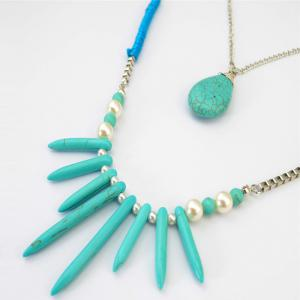 Bohemia Multilayer Faux Turquoise Pearl Water Drop Necklace -