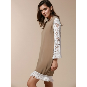 Stylish Scoop Neck 3/4 Sleeve Tassels Lace Splicing Women's Dress - KHAKI M