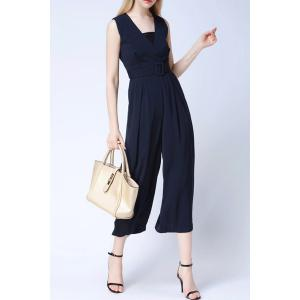 Belted Wide Leg Jumpsuit For Women -