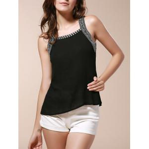 Trendy Scoop Neck Cut Out Embroidery Tank Top For Women