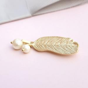 Cute Faux Pearl Feather Hairpin For Women -