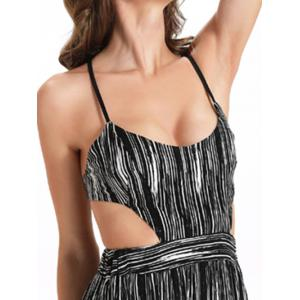 Maxi Criss Cross Backless Slip Summer Dress - WHITE AND BLACK 2XL