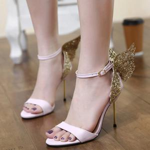 Party Wings and Ankle Strap Design Sandals For Women - PINK 36