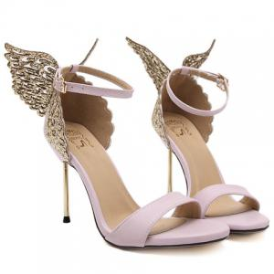 Party Wings and Ankle Strap Design Sandals For Women - PINK 38