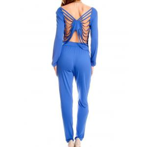 Sexy Solid Color Backless Hollow Out T-Shirt and Pencil Pants Twinset For Women