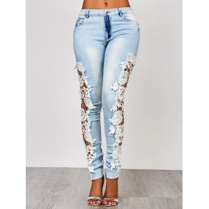 Lace Insert Washed Skinny Jeans