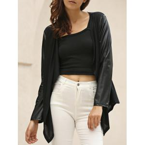 Stylish Long Sleeve Color Block Draped Asymmetrical Women's Jacket