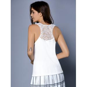 Fashionable Scoop Neck Ribbed Lace Tank Top For Women -