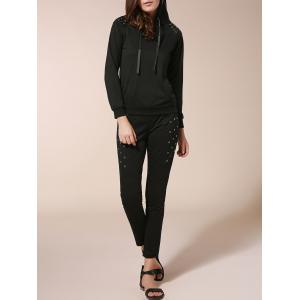 Stylish Hooded Long Sleeve Sweatshirt + Elastic Waist Slimming Pants Women's Twinset