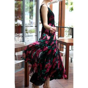 Sleeveless High Waisted Floral Maxi Dress -
