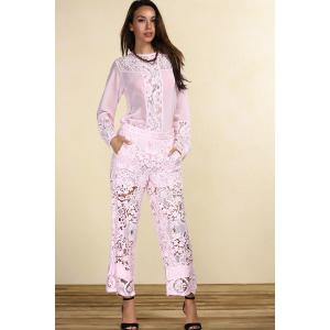 Long Sleeve Lace Panel Pink T-Shirt -