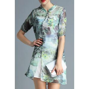 Print Mandarin Collar Dress Twinset For Women -