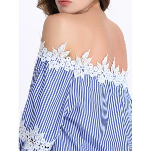 Lace Trim Stripe Off The Shoulder Blouse -