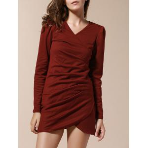 V-Neck Side Pleated Long Sleeve Ruched Dress