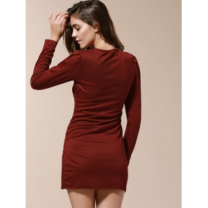 V-Neck Side Pleated Long Sleeve Ruched Dress -