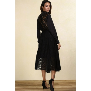 Fashion Lace Back Black Shirt -