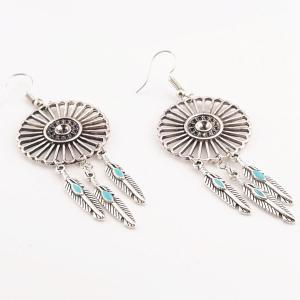Vintage Hollow Out Flower Turquoise Leaf Pendant Earrings - SILVER