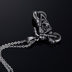 Vintage Motorcycle Shape Necklace - SILVER
