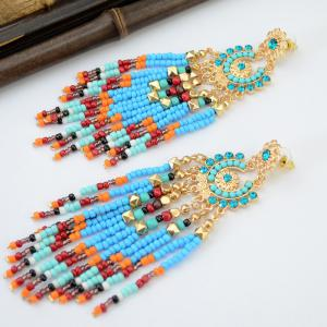 Pair of Flower Rhinestone Bead Tassel Earrings -