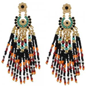 Pair of Flower Rhinestone Bead Tassel Earrings