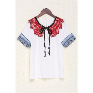 Collared Sequined Cotton T-Shirt -