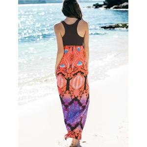 Empire Waist Printed Maxi Summer Dress - BLACK XL