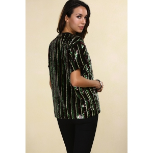 Short Sleeve Sparkly Sequins Stripe T-Shirt -