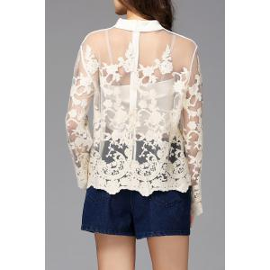 See-Through Embroidered Blouse -