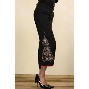 Black Embroidered Beading Straight Pants -