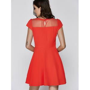 Ladylike Cap Sleeve Red Voile Spliced Dress For Women -
