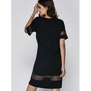 Stylish Scoop Neck Short Sleeve Mesh Patchwork Dress For Women -